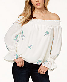 One Hart Juniors' Embroidered Off-The-Shoulder Top, Created for Macy's