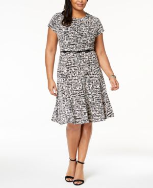 Jessica Howard Plus Size Belted Printed Fit & Flare Dress 5641573