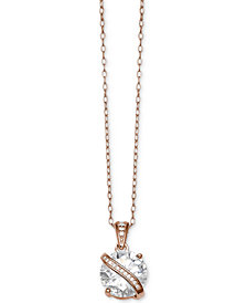 Giani Bernini Cubic Zirconia Wrapped Pendant Necklace in 18k Rose Gold-Plated Sterling Silver, Created for Macy's
