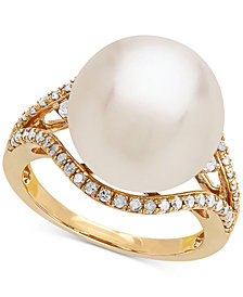 Honora Cultured White Ming Pearl (13mm) and Diamond (1/3 ct. t.w.) Ring in 14k Gold