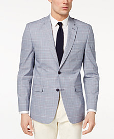 Tommy Hilfiger Men's Modern-Fit Flex Stretch Blue/Red Plaid Sport Coat