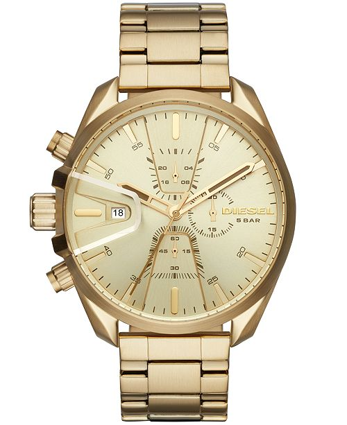 Diesel Men's Chronograph MS9 Chrono Gold-Tone Stainless Steel Bracelet Watch 47mm