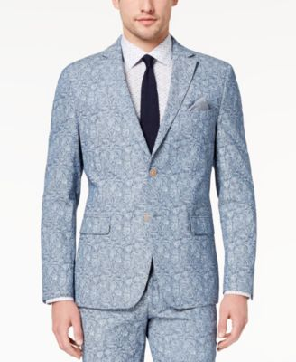 Orange Men's Big & Tall Modern-Fit Blue Paisley Jacket