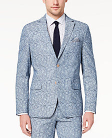 Tallia Orange Men's Big & Tall Modern-Fit Blue Paisley Jacket