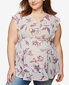 Motherhood Maternity Plus Size Printed Flutter-Sleeve Top