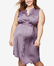 Motherhood Maternity Plus Size Drawstring-Waist Shirtdress