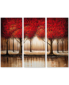 "'Parade of Red Trees' by Rio 32"" x 44"" 3-Panel Canvas Print  Set"
