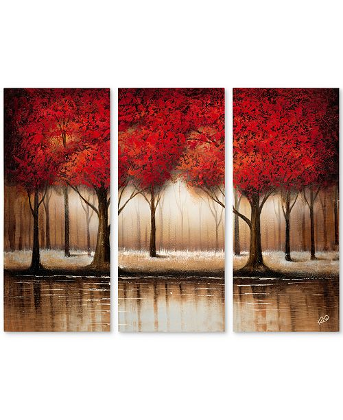 "Trademark Global Rio 'Parade of Red Trees' 3 Panel Art Set - 32"" x 44"""