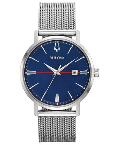 Bulova Men's Aero Jet Stainless Steel Mesh Bracelet Watch 39mm