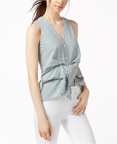 Striped Sleeveless Asymmetrical-Hem Top, Created for Macy's