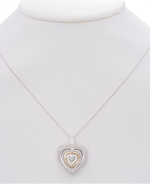 Macys diamond accent two tone heart pendant necklace in sterling macys diamond accent two tone heart pendant necklace in sterling silver and 10k gold necklaces jewelry watches macys mozeypictures Images
