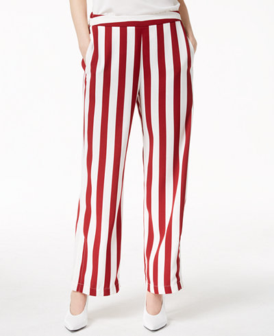 Bar III Striped Pull-On Wide-Leg Pants, Created for Macy's