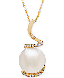 Honora Style Cultured White Ming Pearl (13mm) & Diamond (1/8 ct. t.w.) Pendant Necklace in 14k Gold