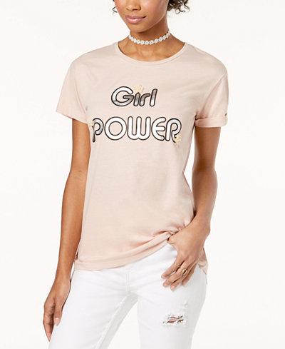 Crave Fame Juniors' Embellished Metallic Graphic-Print T-Shirt