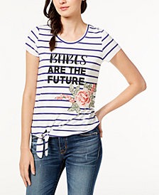Crave Frame Juniors' Striped Tie-Front Embroidered Top