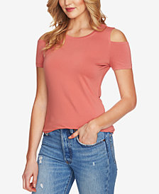 1.STATE Crew-Neck Cold-Shoulder T-Shirt