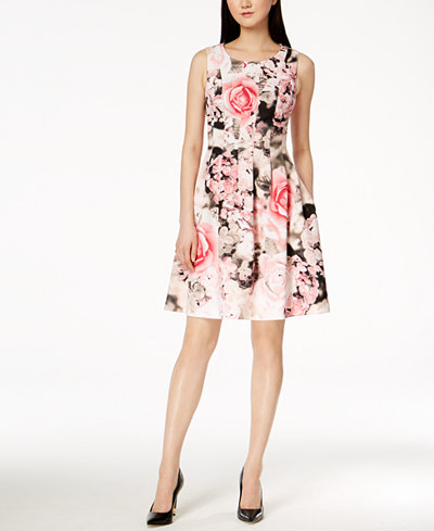 Calvin Klein Seamed Floral-Print Fit & Flare Dress, Regular & Petite