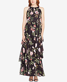 Tahari ASL Floral-Print Tiered Halter Gown