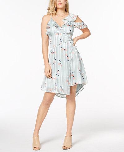ASTR The Label One-Shoulder Flounce Wrap Dress
