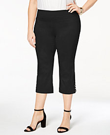 JM Collection Plus Size Lattice-Hem Capri Pants, Created for Macy's