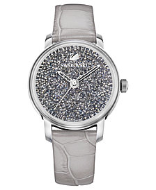 Swarovski Women's Swiss Crystalline Hours Gray Leather Strap Watch 38mm