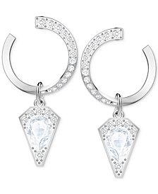 Swarovski Silver-Tone Crystal Circle Drop Earrings