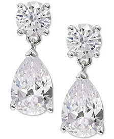 Giani Bernini Cubic Zirconia Pear Drop Earrings in Sterling Silver, Created for Macy's