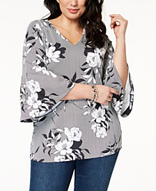 Charter Club Plus Size Flared-Sleeve Tunic, Created for Macy's
