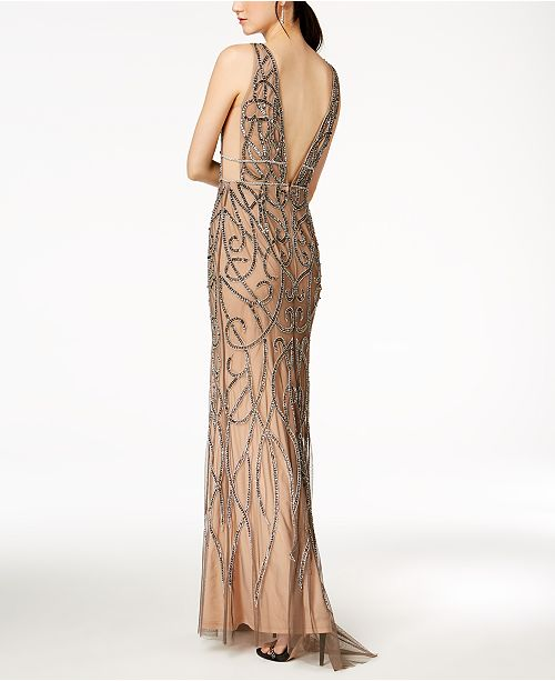 Papell Nude Gown Adrianna Plunge Beaded Chainmail Lead SXqqwax