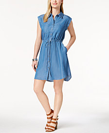 Style & Co Petite Denim Shirtdress, Created for Macy's