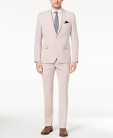 Nick Graham Men's Slim-Fit Stretch Red/White Seersucker Suit