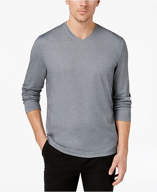 10430eb03a52 ... Tasso Elba Men s Supima reg  Blend Knit V-Neck Long-Sleeve T-Shirt ...