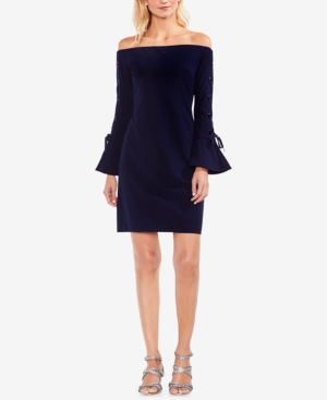 Vince Camuto  GROMMET-TIE OFF-THE-SHOULDER SHEATH DRESS