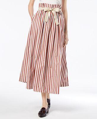 Weekend Max Mara Olivi Cotton High-Waisted Midi Skirt