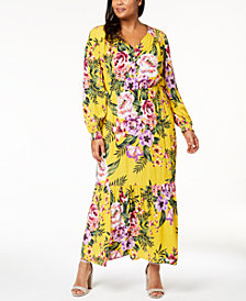 ECI Plus Size Floral-Print Maxi Dress