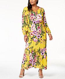ECI Plus Size Floral-Print Maxi Dress