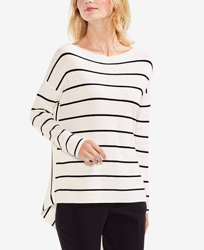 Vince Camuto Cotton Striped Asymmetrical-Hem Sweater