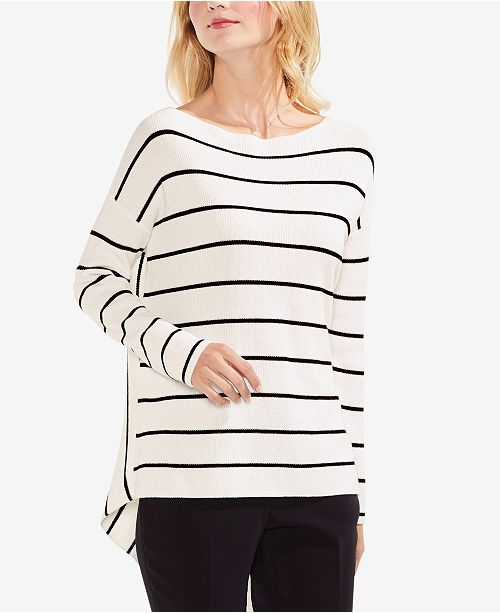 Vince Camuto Cotton Striped Asymmetrical-Hem Sweater