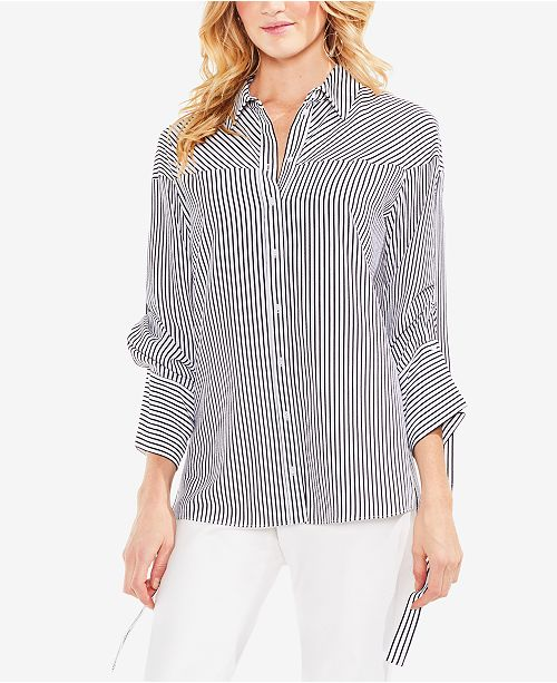 3351e2fd888 Vince Camuto Striped Drawstring-Sleeve Button-Down Shirt   Reviews ...