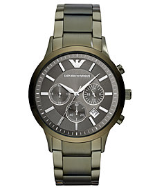 Emporio Armani Men's Chronograph Green Stainless Steel Bracelet Watch 43mm