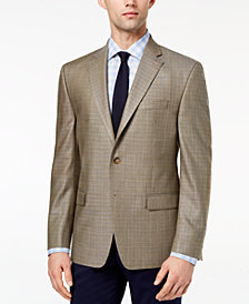 CLOSEOUT! Lauren Ralph Lauren Men's Classic-Fit Ultra-Flex Stretch Tan Tic-Weave Silk and Wool Sport Coat