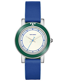 Tory Burch Women's Ellsworth Denim Blue Leather Strap Watch 36mm