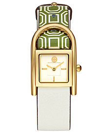 Tory Burch Women's Thayer Green & Ivory Leather Strap Watch 25x29mm