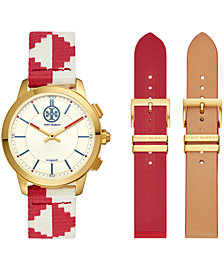 Tory Burch Women's ToryTrack Collins Red & White Fabric Strap Hybrid Smart Watch 38mm Gift Set