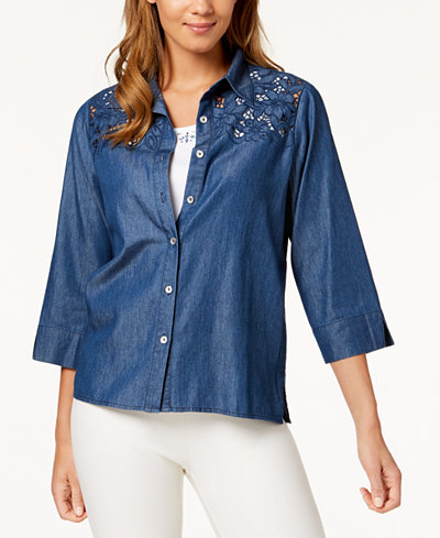 Alfred Dunner Petite Sun City Layered-Look Embellished Denim Top