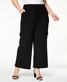 I.N.C. Plus Size Wide-Leg Cargo Pants, Created for Macy's