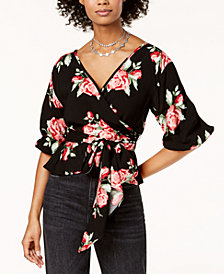 The Edit By Seventeen Juniors' Floral-Print Wrap Top, Created for Macy's