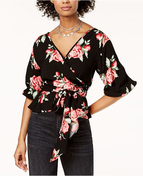 Juniors' Floral-Print Wrap Top, Created for Macy's