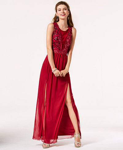 BCX Juniors' Sequined-Bodice Gown, Created for Macy's