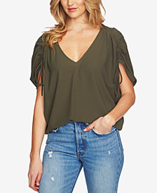 1.STATE V-Neck Drawstring-Sleeve Top